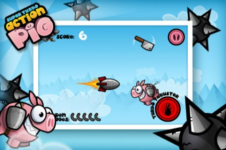 Super Turbo Action Pig для iPhone | iPod - летящая свинья